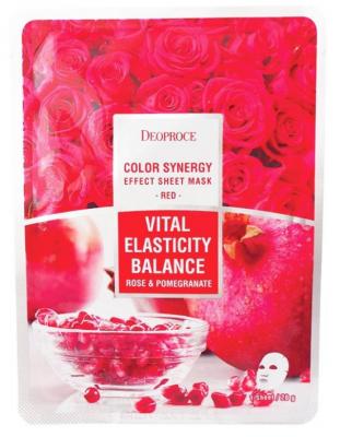 Маска с гиалуроновой кислотой, гранатом и розой DEOPROCE Color synergy effect sheet mask red 20г: фото