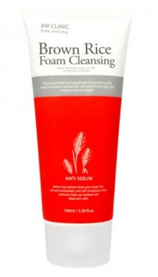 Пенка-контроль жирности кожи с экстрактом коричневого риса 3W CLINIC Brown rice foam cleansing 100мл: фото