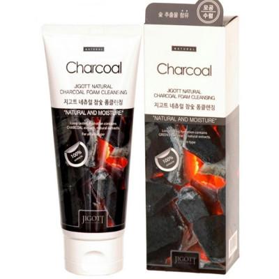 Пенка для умывания с экстрактом древесного угля JIGOTT Natural Charcoal Foam Cleansing 180мл: фото
