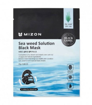 Тканевая маска с морскими водорослями MIZON Sea Weed Solution Black Mask 25г: фото