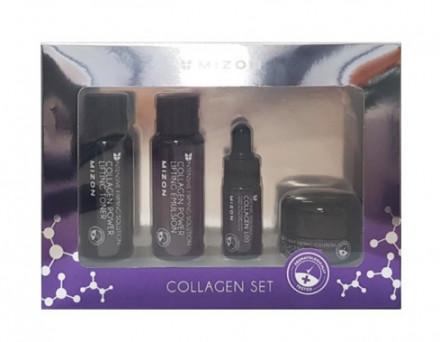 Набор MIZON Collagen miniature SET: Эмульсия для лица, Тонер для лица, Сыворотка для лица, Крем для лица 40мл/40мл/15мл/9.3мл: фото