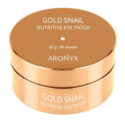 Патчи для глаз гидрогелевые с муцином улитки и золотом MediFlower Aronyx Gold snail nutritive eye patch 60шт: фото